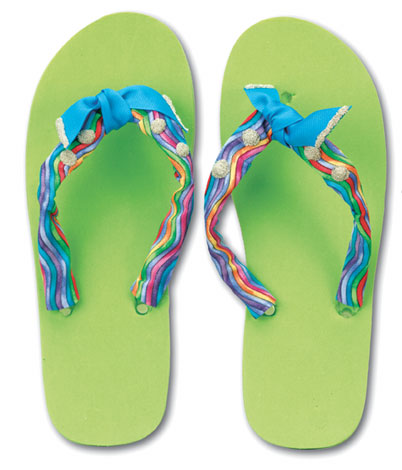 Ribbon and Bead Flip Flops
