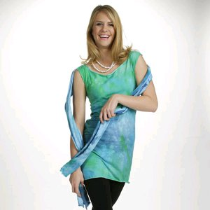 Tie Dye Aqua Tunic and Scarf