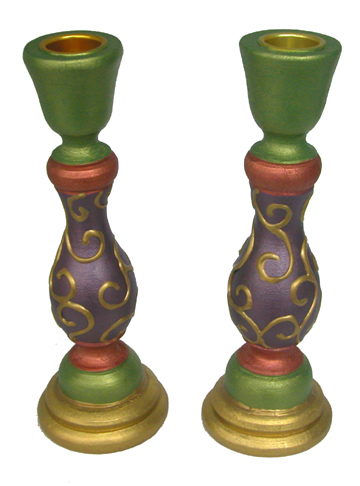 Autumn Colors Wood Candlesticks