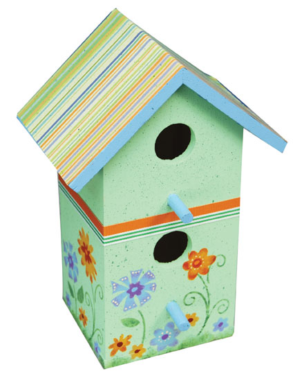 Floral Painted Bird House