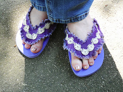 Denim and Lace Flip-Flops