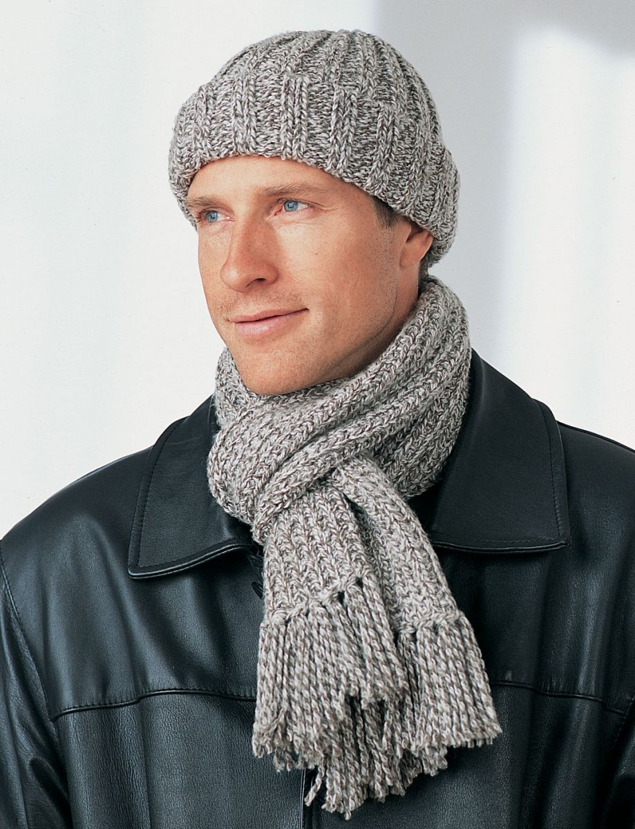Free Knitting Pattern For Cushion Cover : Mens Winter Hat and Scarf FaveCrafts.com